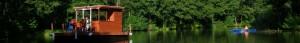 Fluss Floß auf der Dahme quer